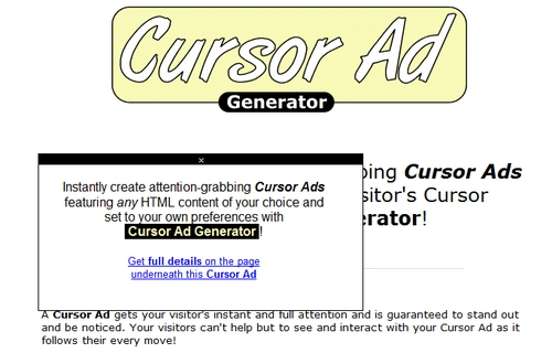 Product picture Cursor Ad Generator Software